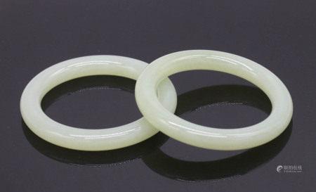 A Pair of Pale Celadon Jade Bracelets, Qing