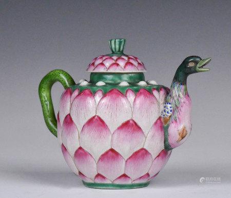 A Famille Rose Lotus Teapot, Mid Qing