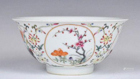 A Famille Rose Floral Bowl, Qing