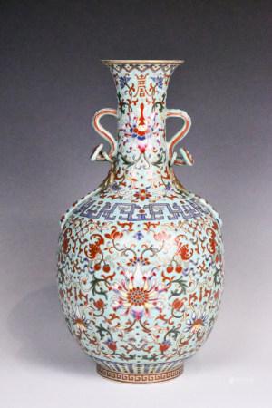 A Famille Rose Figures Vase Qianlong Mark