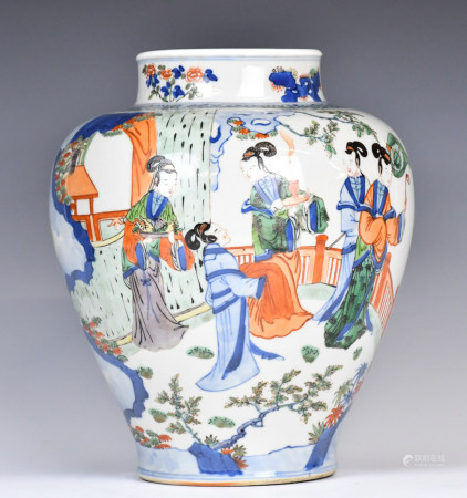A Chinese Wucai Transitional Vase, Qing