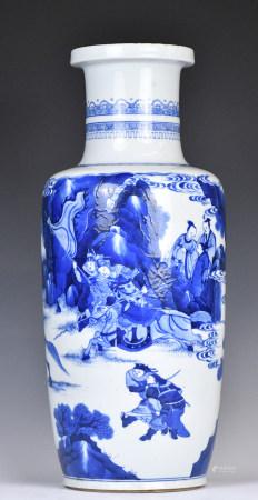 Large Blue & White Rouleau Porcelain Vase, KangXi