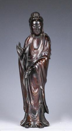 A Bronze Guanyin Statue Shisou Mark with Box Qing