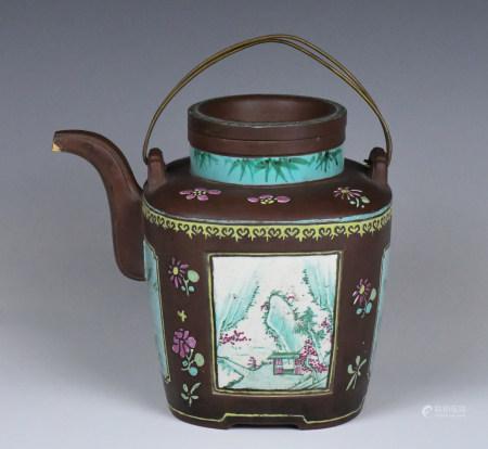 A Lage Zisha Polychrome Teapot, Qing