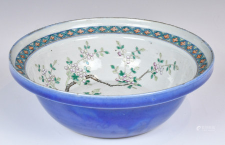 A Large Famille Rose Blue Ground Basin, 19th C