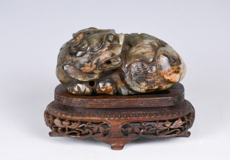 A Celandon Jade Carved Beast W/ Stand Republic P
