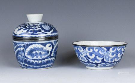 A Blue & White Silver Rim Dragon Bowl & Cover Box