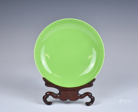 A Green Glazed Porcelain Plate w/stand,19th C.