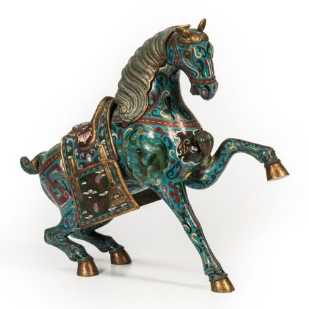 Large Chinese Cloisonné Enamel and Gilt Bronze Horse