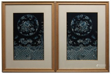 19th C. Pair of Framed Chinese Silk Embroidered Panels
