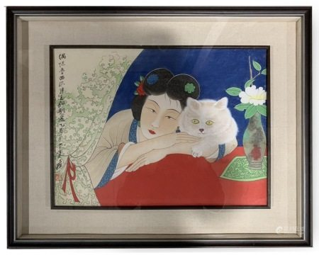 Framed Painting of 'Maiden and Cat', ZHANG DAQIAN