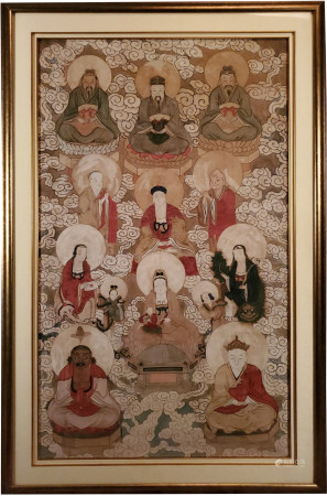 Large Framed 19th C. Chinese Painting of