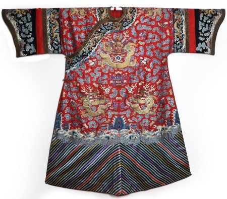 Rare Red-Ground Silk Embroidered Dragon Robe, Daoguang