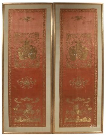 Pair 18th Century Chinese Gold Embroidered Chair Covers