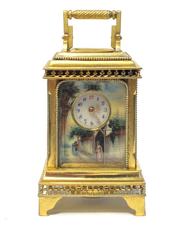 A Old Gilt Bronze Or Metal Clock