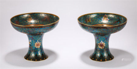 PAIR OF CHINESE CLOISONNE DRAGON PHOENIX HIGH-FOOTED DISHES