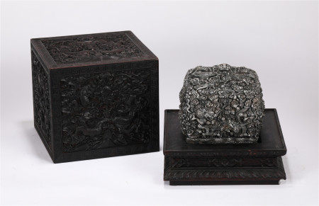 CHINES SILVER DRAGON PATTERN SQUARE SEAL