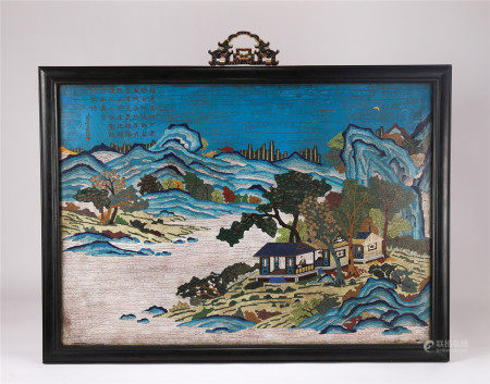 CHINESE CLOISONNE LANSCAPE AND FIGURES HANGING SCREEN