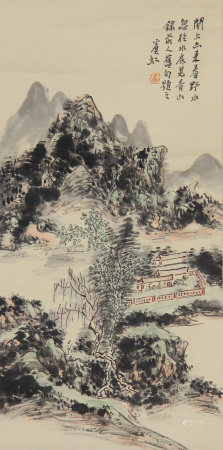 CHINESE PAINTING HANGING SCROLL OF TRAVELING AMONG GREEN MOUNTAINS AND WATERS