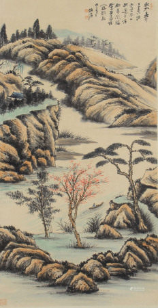 CHINESE LIGHT COLOR INK PAINTING OF LANDSCAPE SCENERY