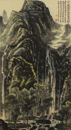 CHINESE COLOR INK PAINTING OF MOUNTAINS AND WATERFALLS SCENERY