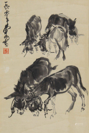 CHINESE INK PAINTING OF DONKEYS