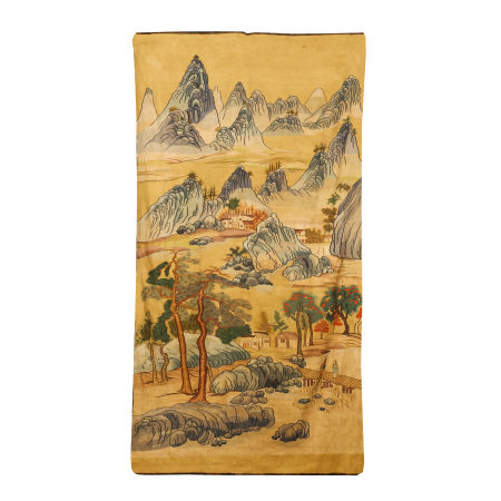 CHINESE SILK TAPESTRY OF LANDSCAPE AND FIGURE STORY