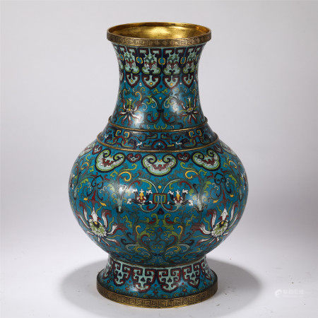 CHINESE CLOISONNE FLOWER PATTERN VASE