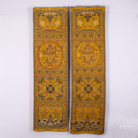 PAIR OF CHINESE DRAGON PATTERN CHAIR COVERS