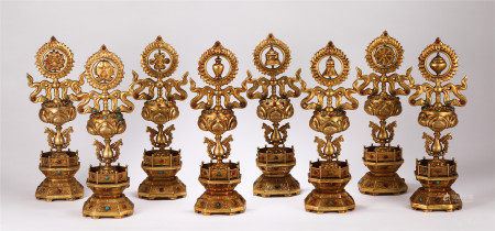 SET OF CHINESE GILT BRONZE BUDDHIST EIGHT TREASURES ORNAMENTS
