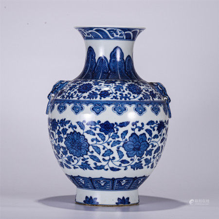 CHINESE BLUE AND WHITE DOUBLE BEAST HANDLE PORCELAIN VASE