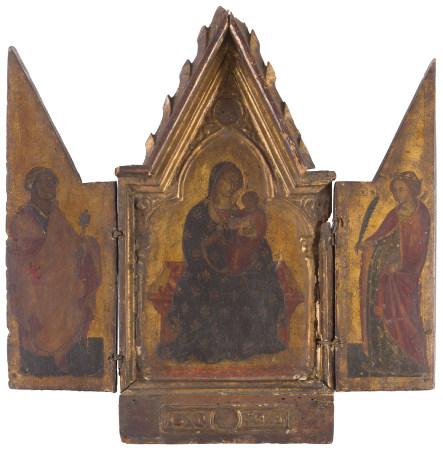 École OMBRIENNE vers 1380  - La Vierge à l'Enfant, entre saint Pierre et sainte [...]