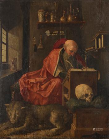 École ANVERSOISE du XVIe siècle  - Saint Jérôme dans son atelier  - Panneau de [...]