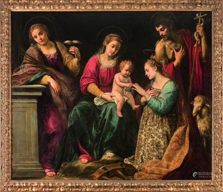 Giuseppe VERMIGLIO (1585 - 1635)  - Le Mariage mystique de sainte Catherine entre [...]