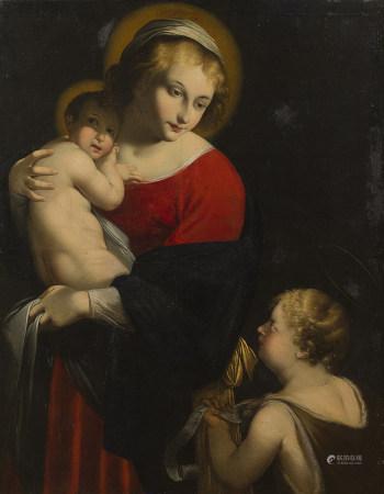 École ITALIENNE du XVIIe siècle   - Vierge à l'Enfant avec saint Jean-Baptiste   [...]