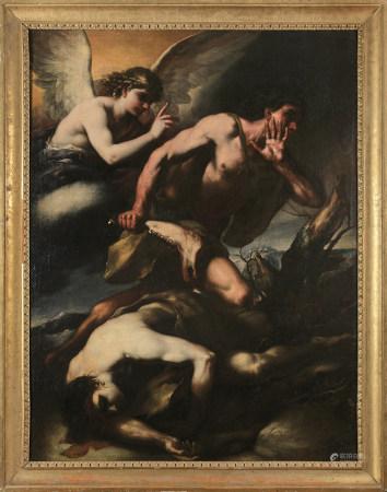 Luca GIORDANO (Naples, 1632 - 1705)  - Caïn et Abel  - Toile.  - Signée en bas à [...]