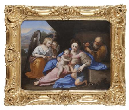 École bolonaise du XVIIe siècle  - La Sainte Famille avec St Jean-Baptiste et deux [...]