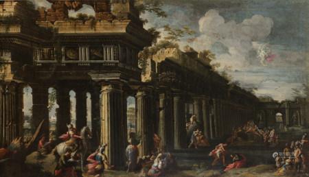 Attribué à Nicolo CODAZZI (vers 1648 - 1693)  - Personnages dans des ruines  - [...]