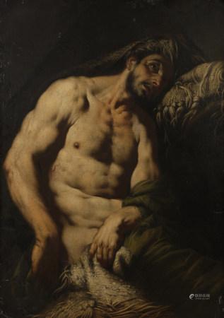 Attribué à JOHANN CARL LOTH (1632 - 1698)  - Job  - Toile anciennement octogonale, [...]