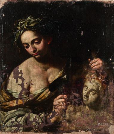 École NAPOLITAINE DU XVIIe siècle  - Allégorie de la Sculpture  - Toile.  - [...]