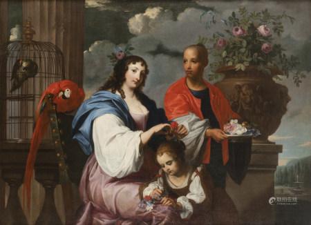 École FLAMANDE du XVIIe siècle  - Portrait d'une dame de qualité coiffant sa [...]