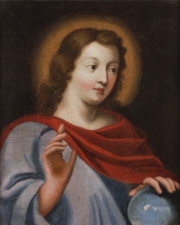 École FRANÇAISE du XVIIe siècle  - Christ en Salvator Mundi  - Toile.  - [...]