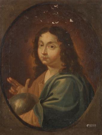 École FRANÇAISE du XVIIe siècle  - Le Christ dans un ovale peint  - Toile.  - [...]