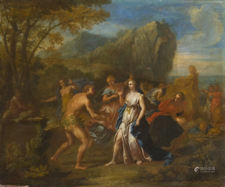 Attribué à Victor Honoré JANSSENS (1658 - 1736)  - Ulysse et Nausicaa   - Toile.   [...]