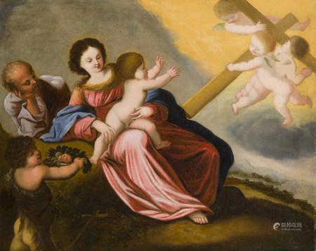 Attribué à Pierre BREBIETTE (ca. 1598 - 1650)  - Sainte Famille et saint [...]