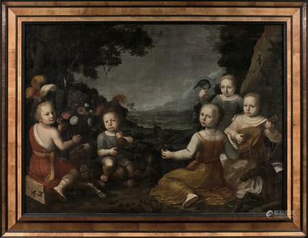 École HOLLANDAISE vers 1640  - Une réunion d'enfants musiciens  - Toile.  - [...]
