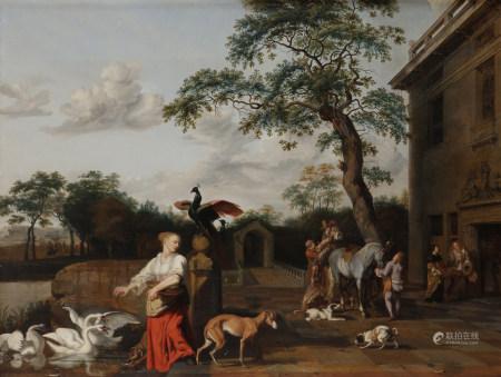 Abraham HONDIUS (Rotterdam, vers 1625 - Londres, 1695)  - Cour de palais animée  - [...]
