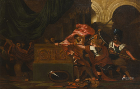 École LIEGOISE vers 1670,   - atelier de Bertholet FLEMAL  - La mort de Pyrrhus   - [...]
