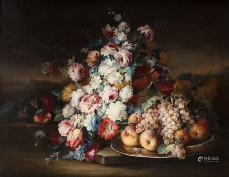 Dans le goût de PFEILER  - Nature morte aux fleurs et fruits dans un paysage   - [...]