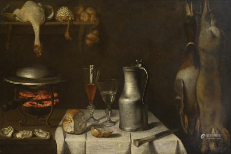 Attribué à Albrecht KAUW (1621 - 1681)   - Nature morte au pichet d'étain, verre [...]